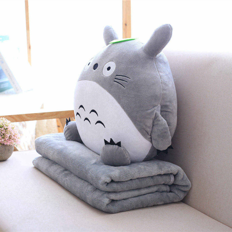 Multifunction Japan Plush Totoro Cute Soft Flannel Pillow With Blanket 3 In 1 Stuffed Hand Warmer Cushion Girl Valentine Gift