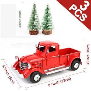Image 1 - OurWarm adornos navideños para camioneta roja, adornos de escritorio, regalos de Año Nuevo para niños, decoración Vintage de Metal para el hogar