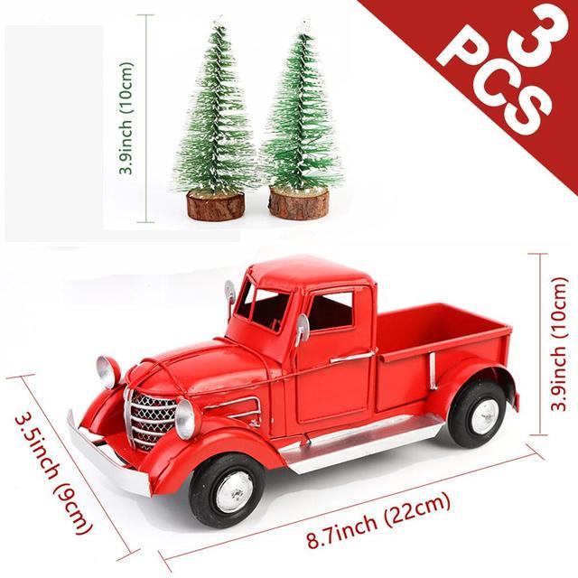 OurWarm adornos navideños para camioneta roja, adornos de escritorio, regalos de Año Nuevo para niños, decoración Vintage de Metal para el hogar