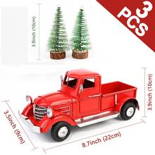 Ourwarm 크리스마스 레드 트럭 데스크탑 장식 장식품 어린이 크리스마스 새해 선물 빈티지 금속 홈 인테리어