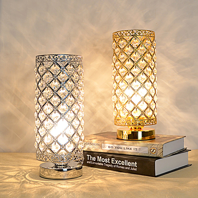 Bedside Lamps Crystal Living-Room Retro Art Deco Loft Classic Silver Gold Vintage Luxurious