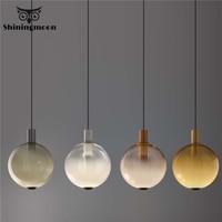 Minimalist Designer Pendant Lights Lighting Nordic Modern Glass Deco Led Pendant Lamp Bedroom Coffee Store Hanging Lamp Fixtures