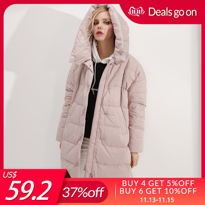 SuyaDream Women Hooded Down Coats Quilted Long Warm Parkas 2019 Winter Outwear