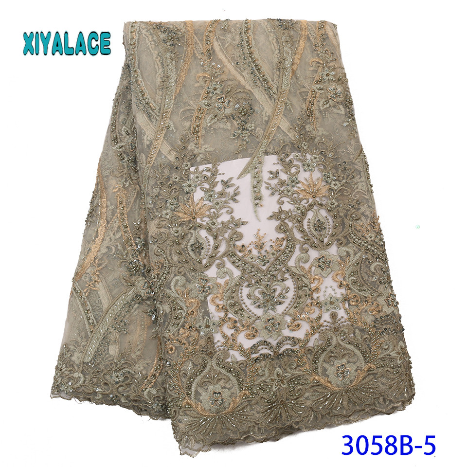AfricanLace Fabric 2019 High Quality Nigerian Lace Fabric  Handmade Embroidery French Tulle Lace With Beads For Bridal YA3058B-5