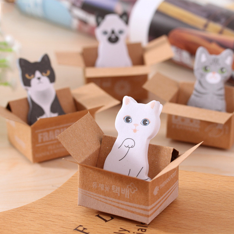 Kawaii Dog Sticky Notes Cute Cat Box Memo Pads Writing Stickers For Kids DIY Stationery School Office Supplies