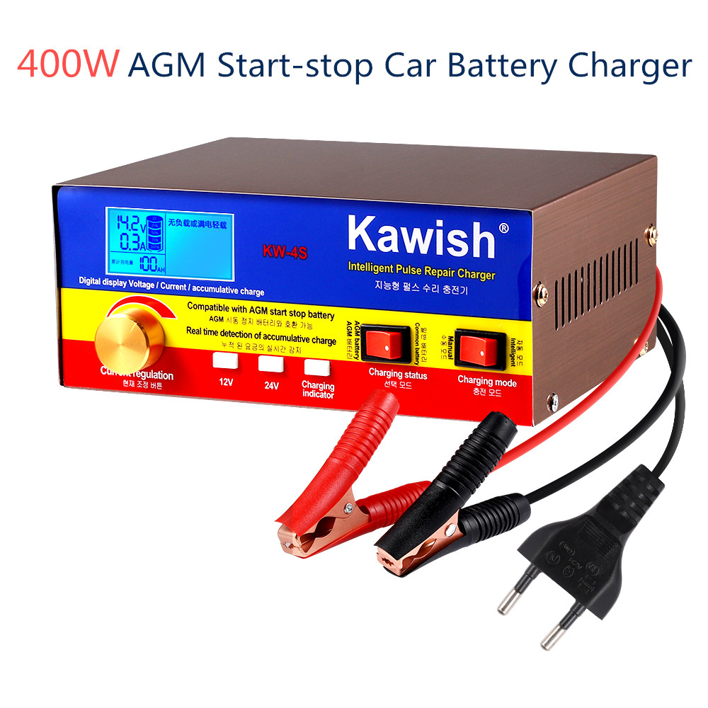 NEW! AGM Start-stop Car Battery <font><b>Charger</b></font>, 400W Intelligent Pulse Repair Battery <font><b>Charger</b></font> <font><b>12V</b></font> <font><b>20A</b></font> 24V 15ATruck Motorcycle <font><b>Charger</b></font> image