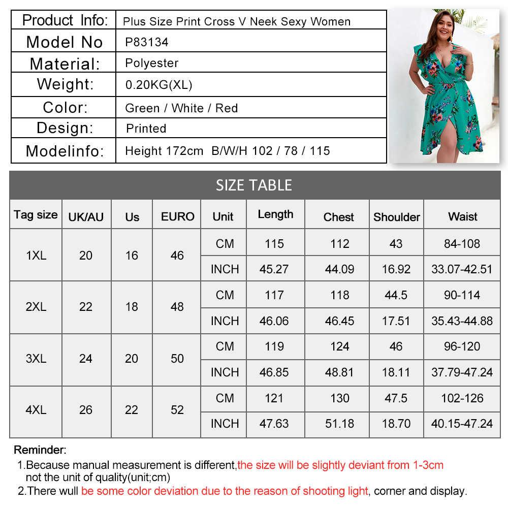 2020 Sexy Plus Size Vrouwen Jurk Zomer Mode Bohemian Bloemenprint Mouwloze V-hals Kant Asymmetrische Jurk Beach Party Dress