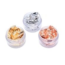 Crafts Gold Foil Crystal Leaf Flakes Gilding Nail-Decorations Painting Fragments 3ml/bottlegold