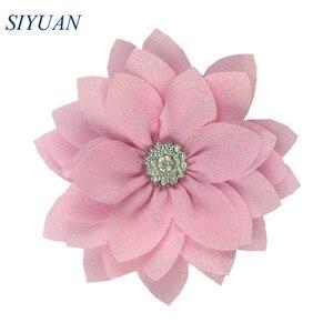 Image 5 - 50 teile/los 9cm Multy Schicht Stoff Blume mit Strass Chic Lotus Blume Kinder Schöne Headwear Zubehör Hohe Qualität TH300