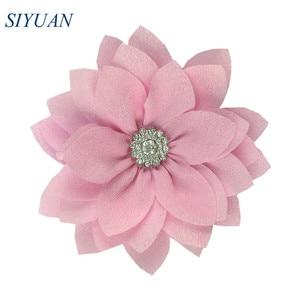 Image 5 - 50 unidades/lote de tela Multy Layer de 9cm con flores de loto y diamantes de imitación, accesorios para la cabeza, TH300