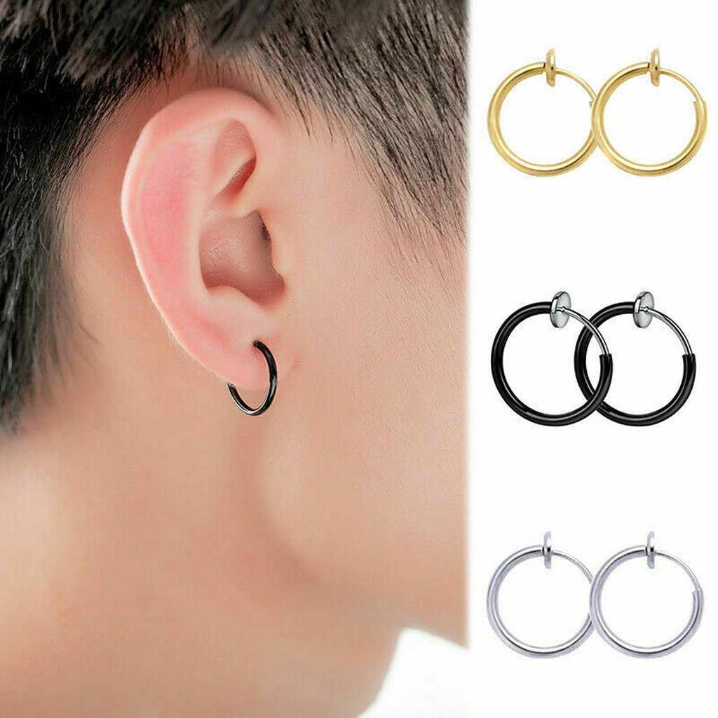 New Retractable Earrings No Need Piercing Men Women Classic Hip Hop Hoop Earrings Clip Nose Ring Belly Button Ring Jewelry Aliexpress