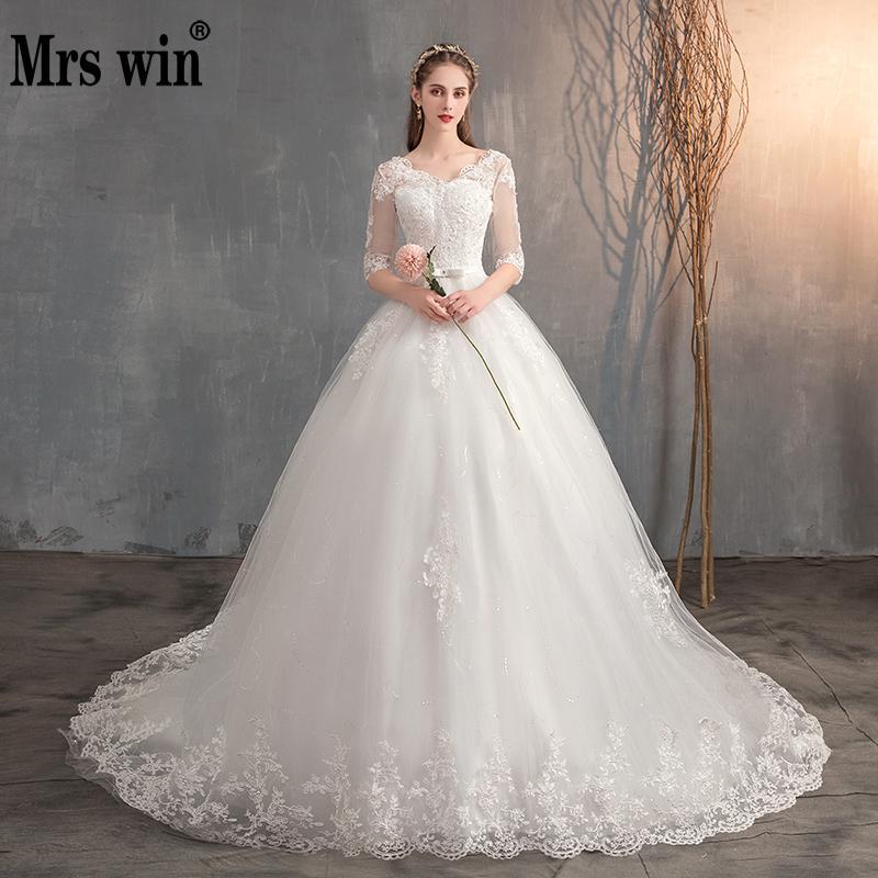 Mrs Win 2020 Lace Embroidery Half Sleeve Wedding Dresses Long Train Wedding Gown Belt V Neck Elegant Plus Size Vestido De Noiva