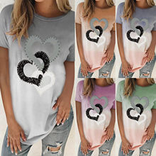 Plus Size Blouse Women Fashion O-neck Loose Hearts Short Ladies Summer Sleeves Tops Blouse Gradient T-shirt Daily