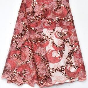 Image 4 - מכירה לוהטת פאייטים נטו תחרה בד 2019 אפריקאית באיכות גבוהה רשת חתונה הכלה שמלת תפירת נצנצים רקום חומר DG847