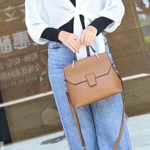 Высококачественные модные женские сумочки из натуральной кожи, однотонные мягкие Наплечные сумки большой емкости, повседневная сумка
