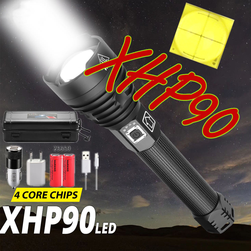 XHP90 USB Rechargeable Brightest LED Flashlight Powerful Torch Super Waterproof Zoom Hunting Torch Light Use 18650 Drop Shipping