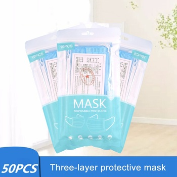 10-50pcs Disposable Face Masks 3 Layers Dustproof Mask Facial Protective Cover Masks Anti-Dust Bacteria Proof Flu Face Mask
