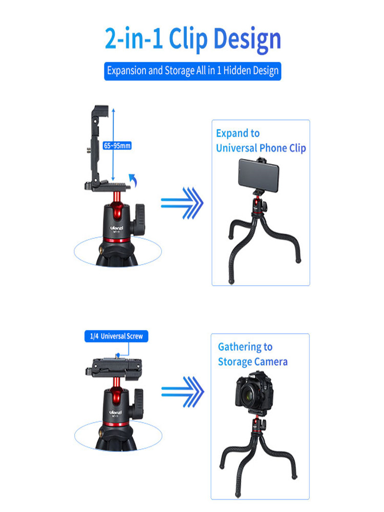 Ulanzi Quick-Release-Plate Clip Octopus Dslr-Tripod Magic Arm Mobile-Phone Foldable Travel
