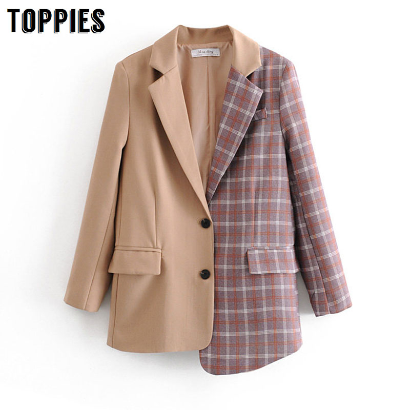 2020 New Spliced Asymetrical Long Blazer Vintage Plaid Suit Jacket Women Single Breasted Suits Formal Womens Blazers