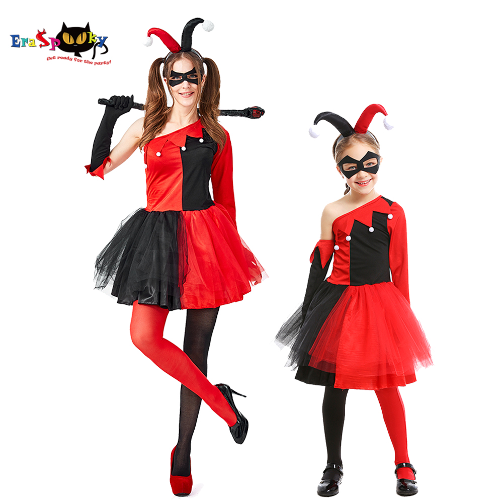 Eraspooky Hot Movie Harle Quinn Cosplay Women Halloween Costume For Kids Girls Evil Jester Tutu Dress Carnival Group Costumes