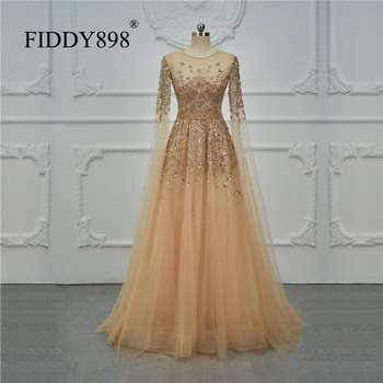 Dubai Luxury Evening Dress Long Sleeves A-Line Crystal Beaded Prom Dress 2020 Evening Gown With Cape Robe De Soiree  OEV-L4245