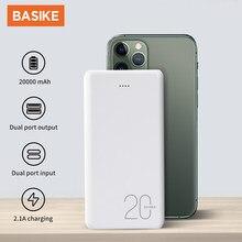 Basike power bank 20000mah usb carregador portátil de carregamento rápido bateria externa para o iphone 12 11 pro xiaomi mi 9 powerbank