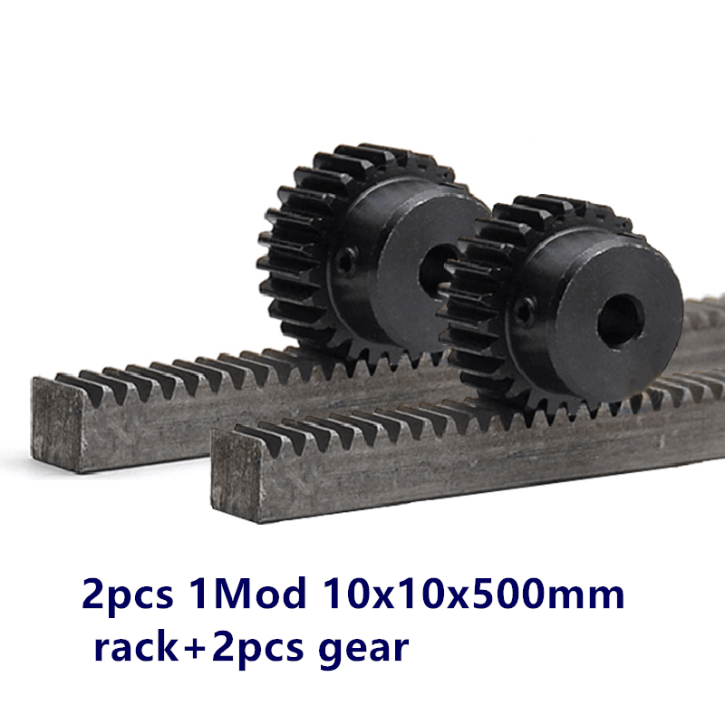 2pcs/lot 1Mod 1 Modulus High Precision Gear Rack steel 10*10*500mm + 2pcs 1M 23teeth 8mm bore pinion 45 steel gear metal gear
