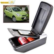 Storage Box Center Console Leather Dual Layer Armrest Arm Rest For Nissan March Micra K13 11-16 Renault Pulse 12 2013 2014 2015