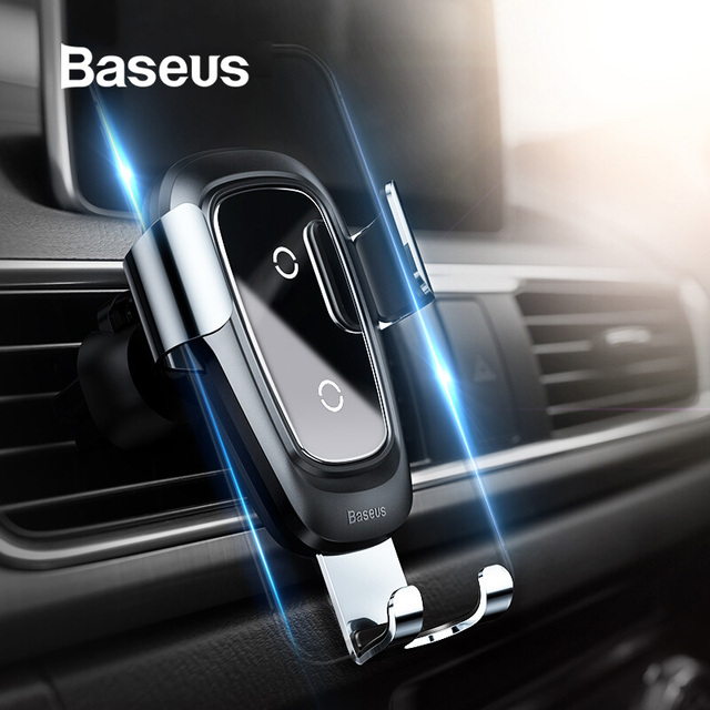 Baseus Qi Wireless Charger Car Phone Holder for iPhone 11Pro Samsung Mobile Phone Holder Stand Air Vent Mount Gravity Car Holder 1