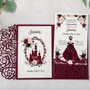 Image 4 - 100pcs 부르고뉴 새로운 로즈 결혼식 안내장 레이저는 결혼식/Quinceanera/생일을위한 꽃 주머니와 봉투를 가진 중공을 자른다