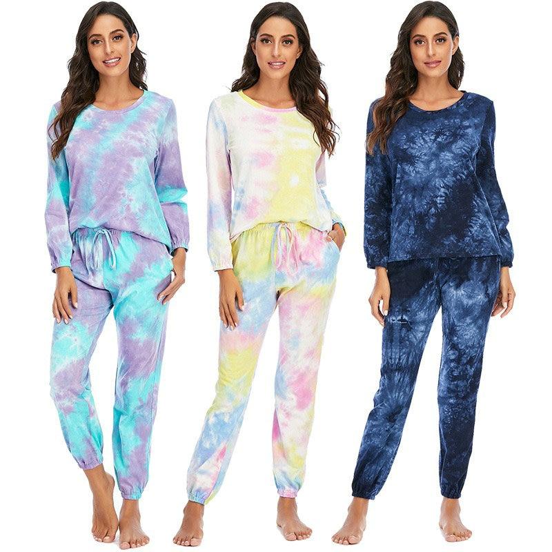 tie-dyed pajamas long pants long sleeve sleepwear leisure sports home wear sleep tops tie-dyed pajama colorful  two piece set