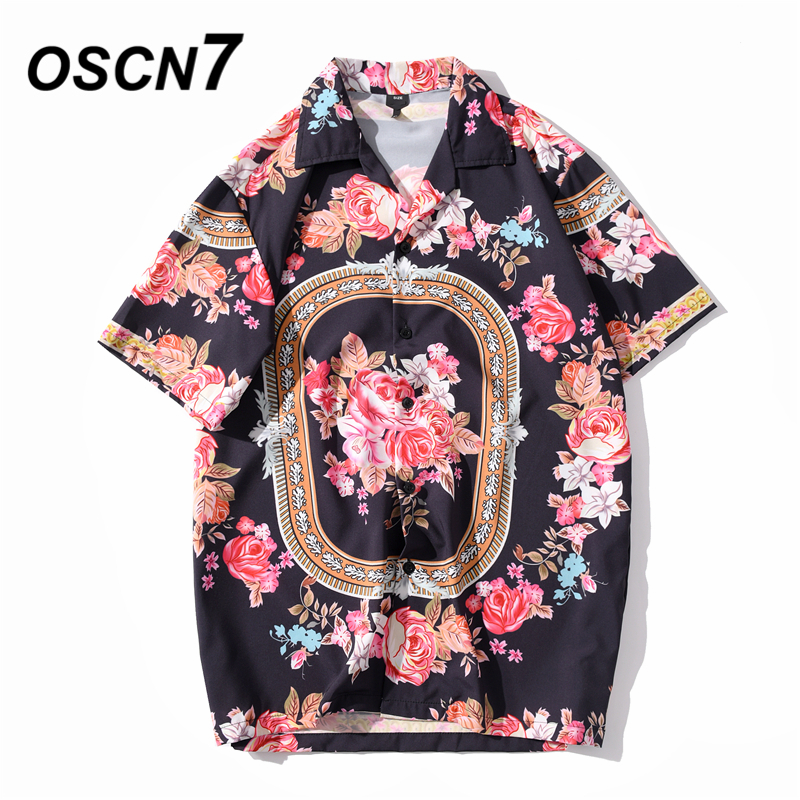 OSCN7 Casual Streetwear Beach Printed Short Sleeve Shirt Men 2020 Hawaii Oversize Fashion Harujuku Women Shirts XQ145