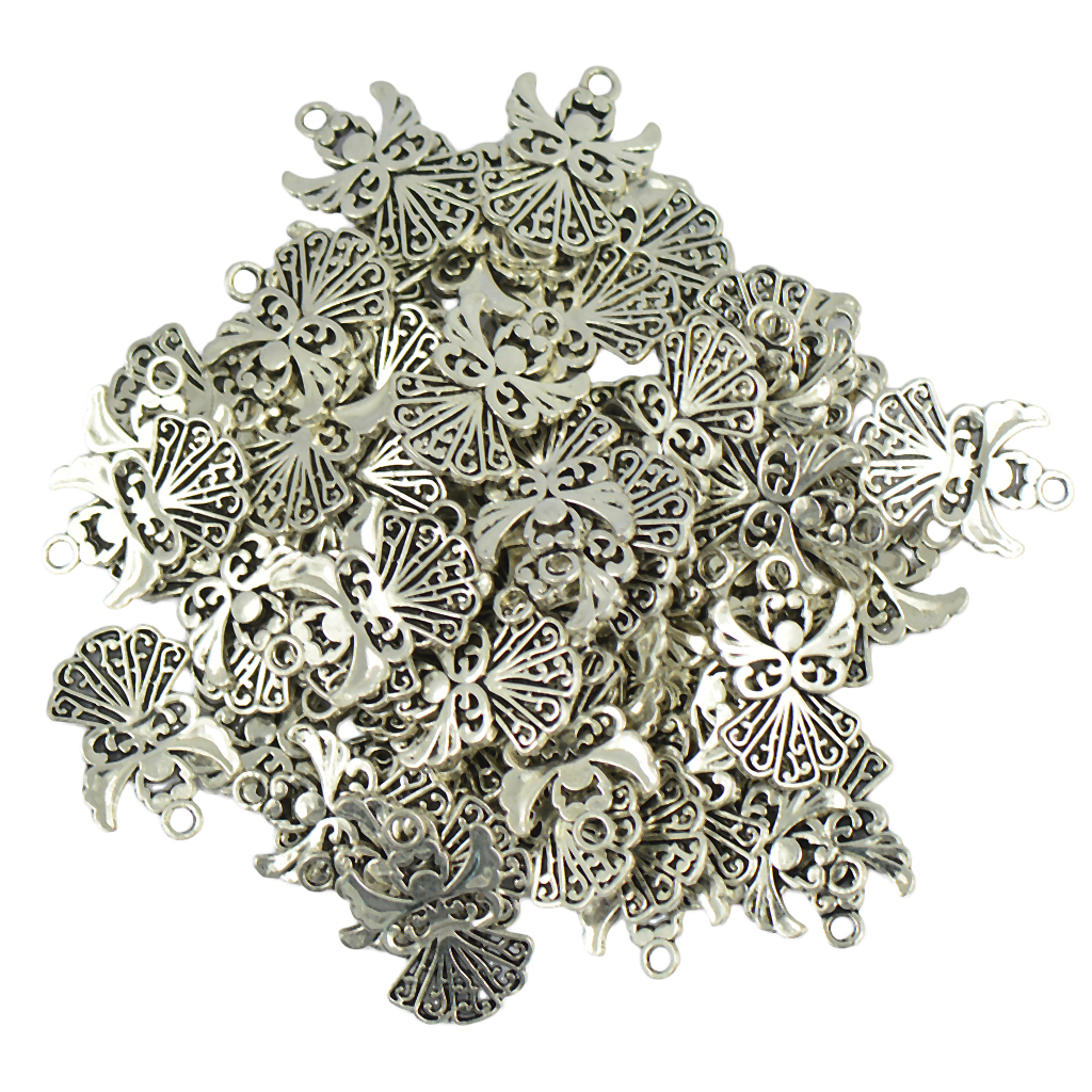 50X Charm Filigree Hollow Leaves Pendant Jewelry Making Leaves Metal Craft AL