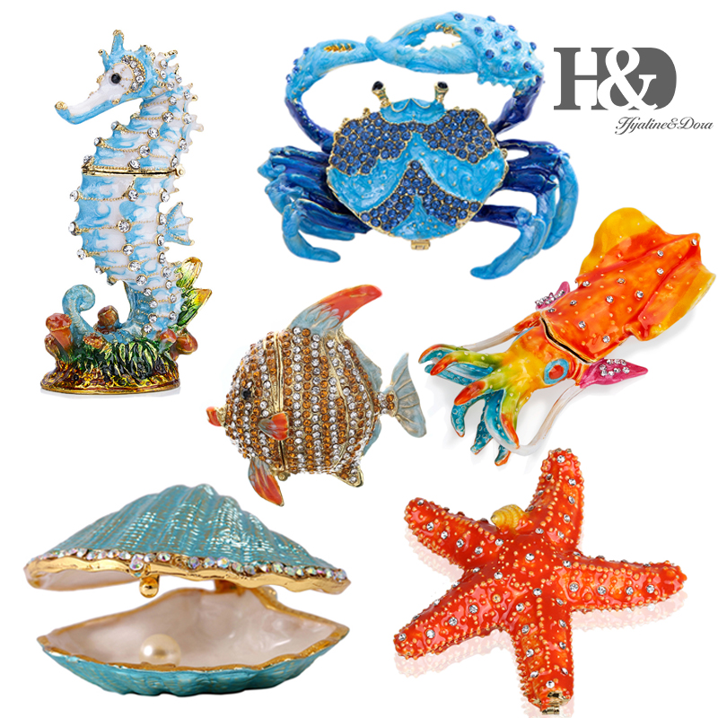 H&D Hand Painted Sea Animal Style Trinket Box  Enameled And Jeweled Box Hinged Jewelry Collectible Figurine Ocean Decor For Home