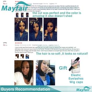 Image 5 - Mayfairストレート人毛ボブレースフロント黒人女性のための非レミーの髪エクステンションスイスレーストップレースかつら