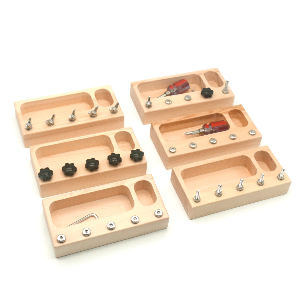 Montessori Material Sensory Toys Screw  Bolts Sets Montessori Educational Wooden Toys For Children Juguetes Montessori A1046F
