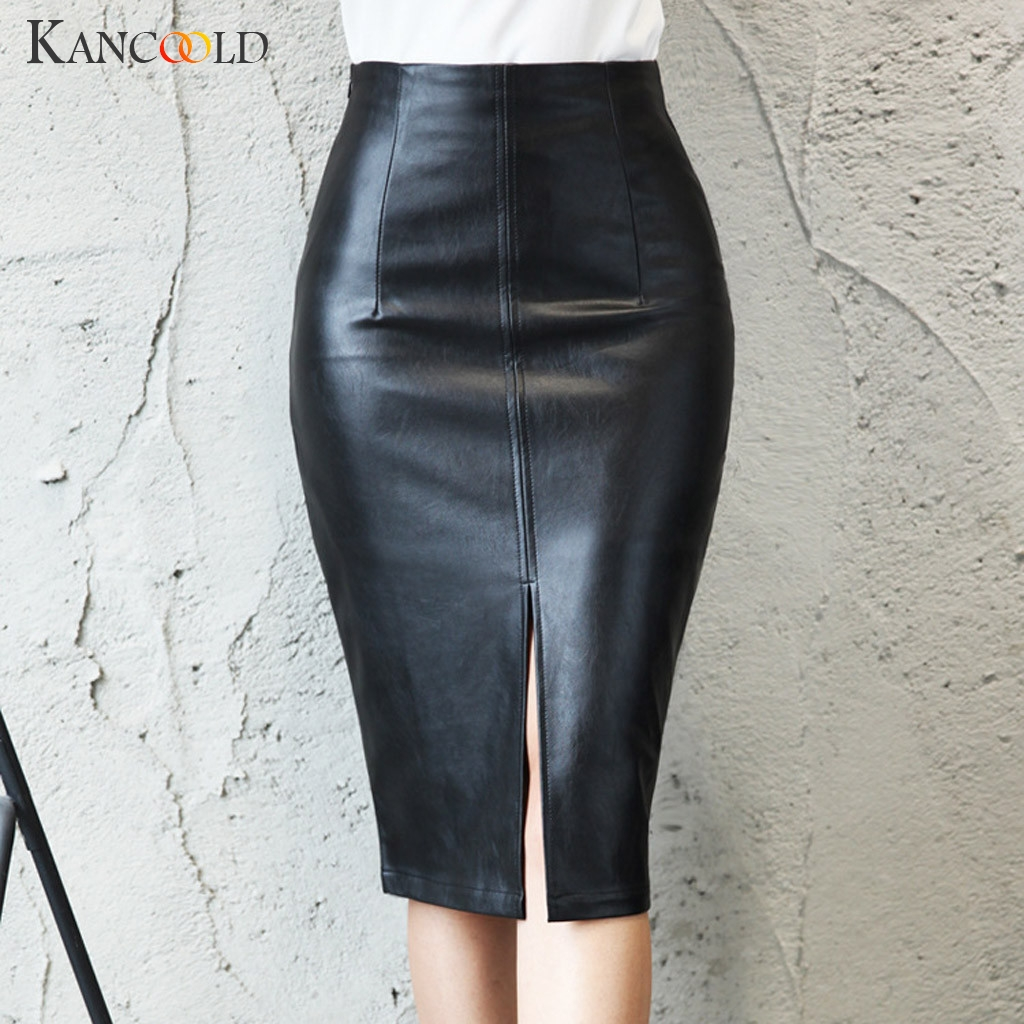 KANCOOLD  Women PU Leather Midi Skirt Autumn Winter Ladies Package Hip Front Or Back Slit Pencil Plus Size Skirt
