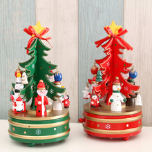 Christmas Tree Wooden Rotating Music Box Xmas Ornament Kids Birthday Gifts Home Decor Girlfriend Women Present Santa Claus Toys
