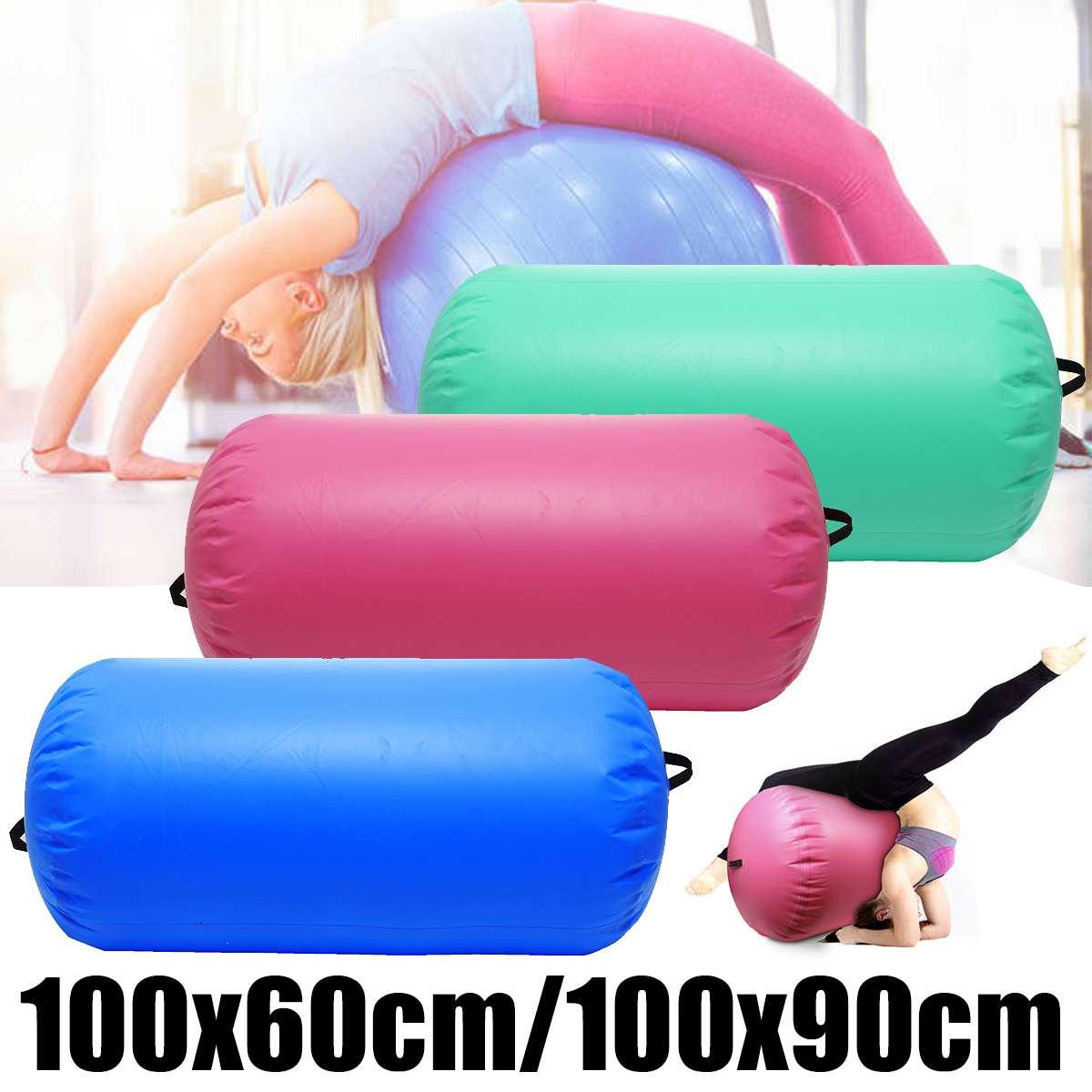 Inflatable PVC Gymnastics Air Barrel Roller Tumbling Mat Fitness Yoga Workout
