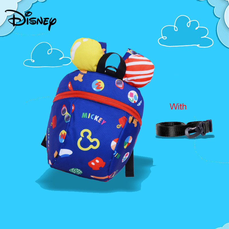 Disney Out Of The Lost Backpack Children Anti-lost Bag Ribbon Rope Baby Travel Backpack Children's Bag Comes With Rope