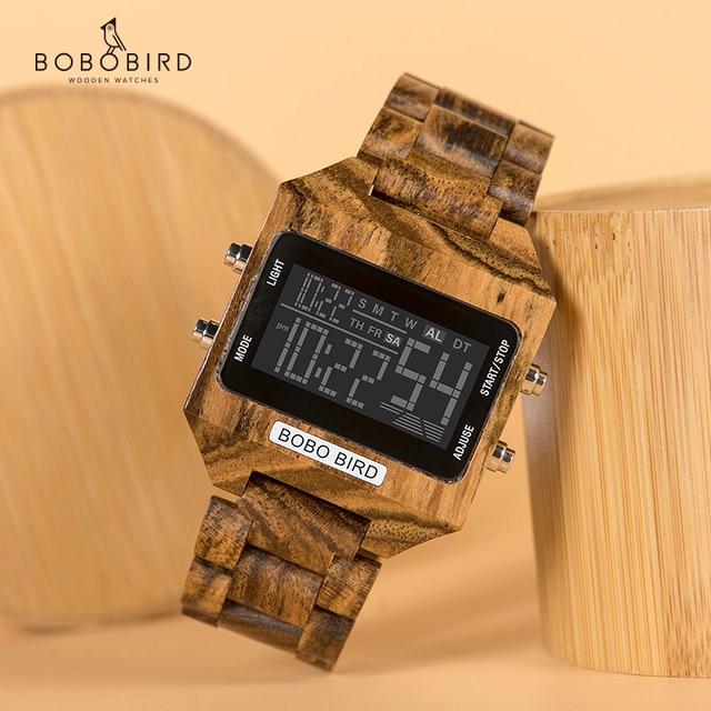 Часы наручные BOBO BIRD мужские электронные, многофункциональные светодиодные брендовые цветные цифровые с деревянным ремешком, с бамбуковой коробкой, с отображением даты