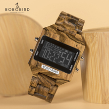 Men Watches BOBO BIRD Multi Function LED Electronic Watches Luxury Brand Color digital Date display Wood Strap Gift Bamboo Box