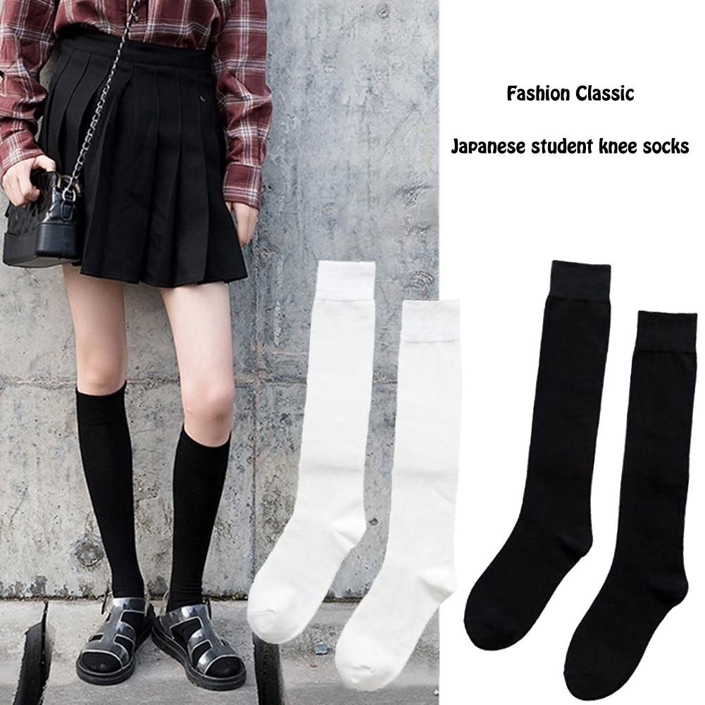 2 Pair Cotton Solid Stockings Girls Korean Japanese Kawaii Lolita Socks Casual Calf High Knee Socks Teenager Womens Long Socks