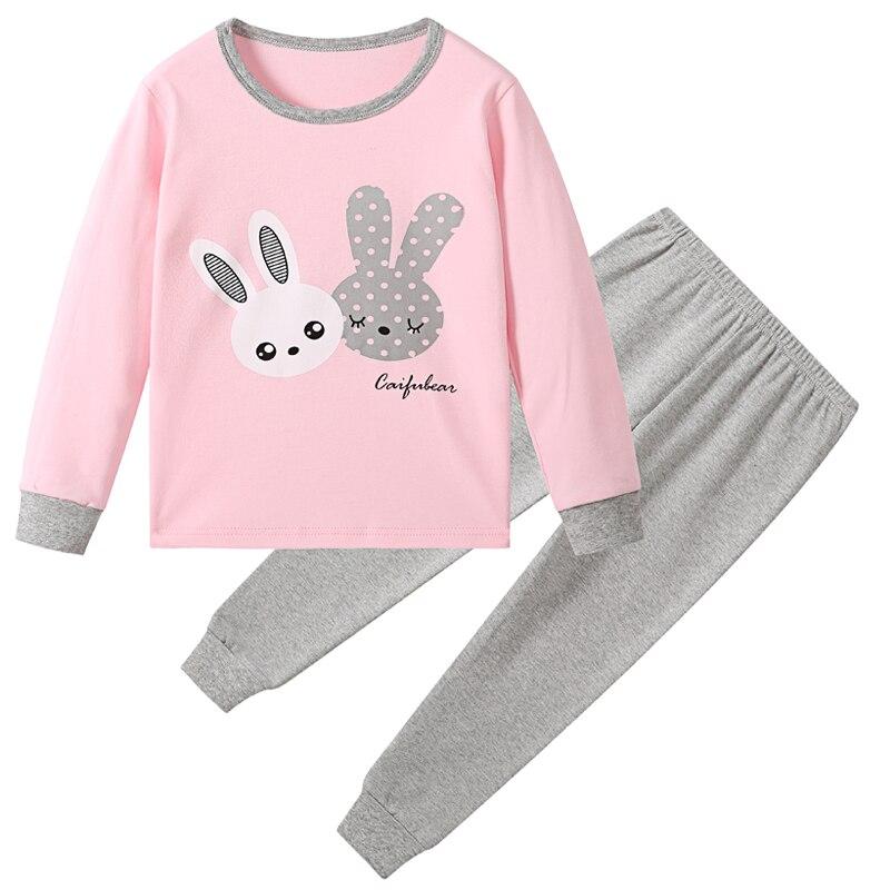 Хлопковые детские пижамные комплекты теплая одежда для маленьких мальчиков и девочек детская одежда для сна с рисунком топы с длинными рукавами и штаны