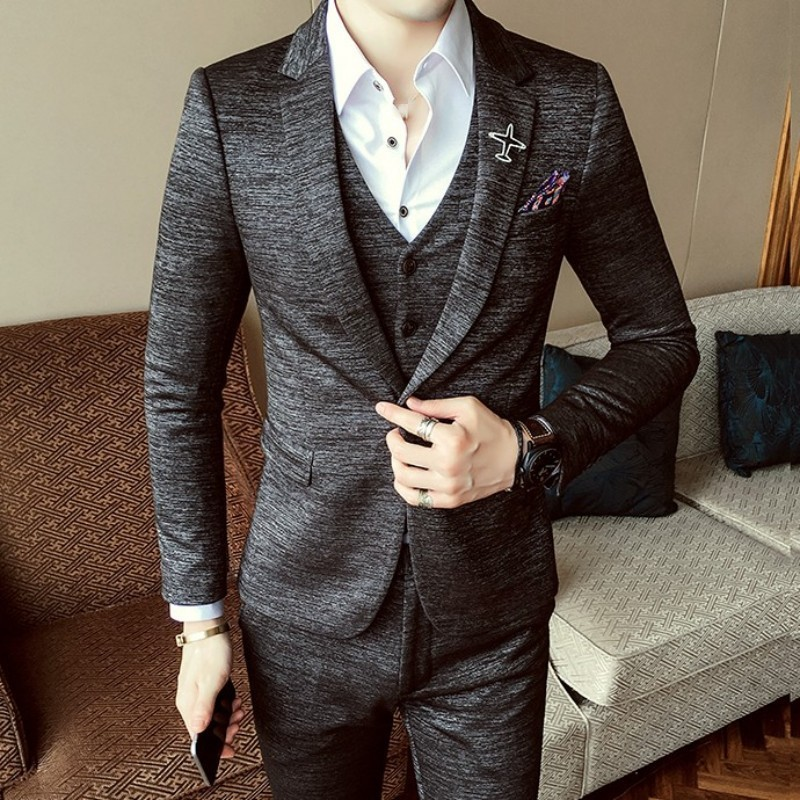 2020 New Autumn Mens Wedding Party Suits Set Single Button Blazer Coat Slim Fit Straight Pants 3 Piece Set Business Casual Suit