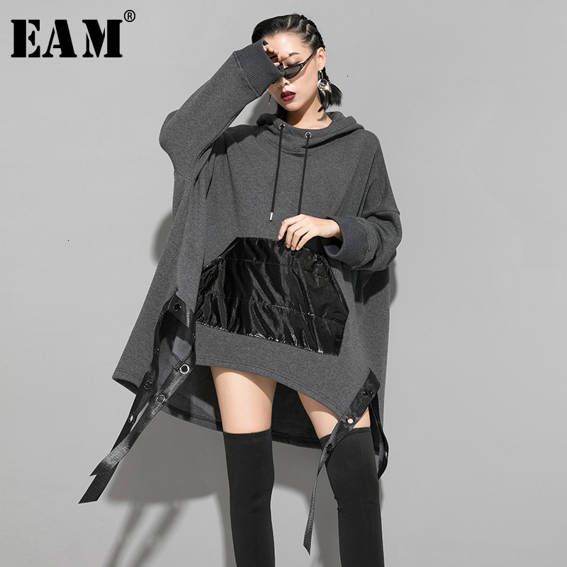 [EAM] Loose Fit Asymmetrical Ribbon Oversized Sweatshirt New Hooded Long Sleeve Women Big Size Fashion Spring Autumn 2020 1K161
