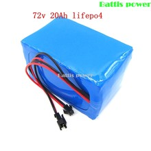 72v electric motor battery 72v 20Ah lifepo4 battery pack 100A discharge 1000w 72v 20ah electric bike battery with BMS + charger(China)