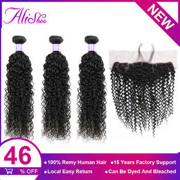 Alishes Malaysian Curly Hair 3 Bundles With Lace Frontal Closure Ear To Ear Free Part Lace Closure 4PCS/LOT Remy Human Hair - DISCOUNT ITEM  47% OFF All Category