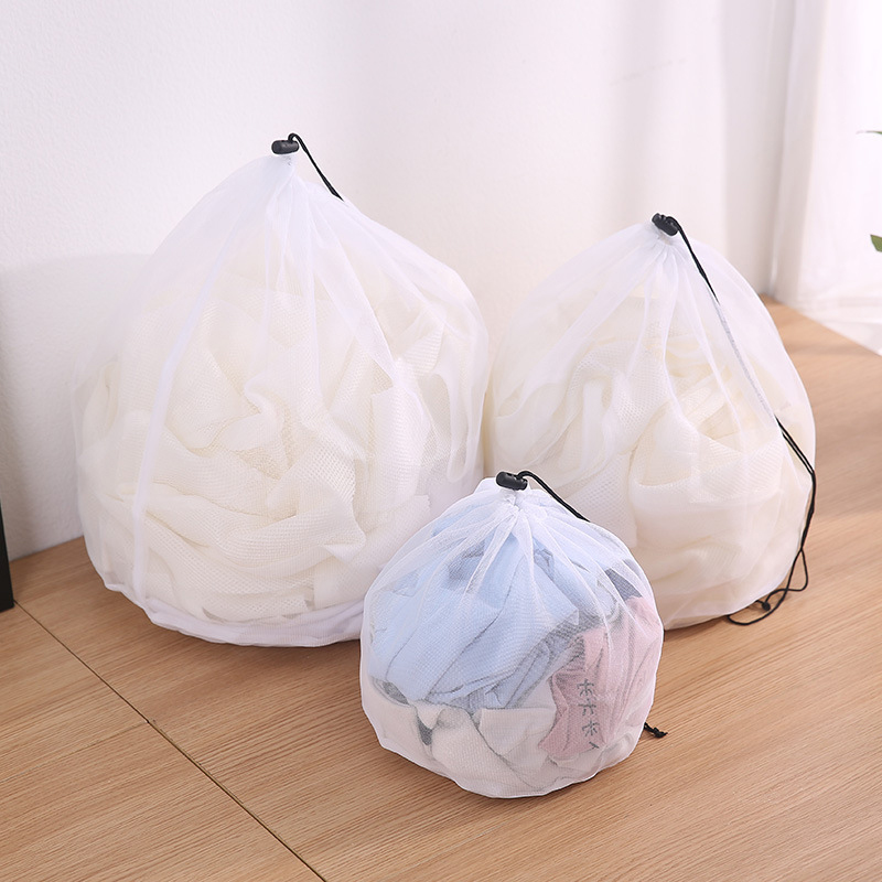 3Sizes Clothing Mesh Bags Zippered Fine Lines Drawstring Laundry Bag Bra Underwear Protective Laundry Bags For Washing Machines