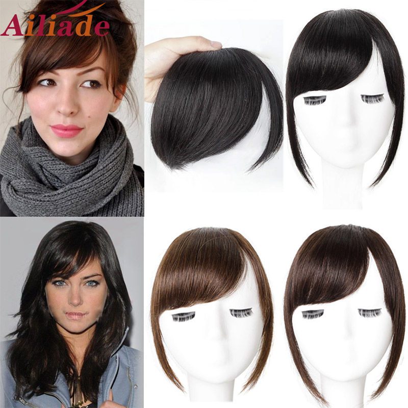 AILIADE Black Brown Hair Bangs Clip in Sweeping Side Fringe Fake False Bang Extensions Natural Synthetic Hairpiece Hair Piece